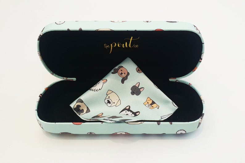 dog hard glasses case open view